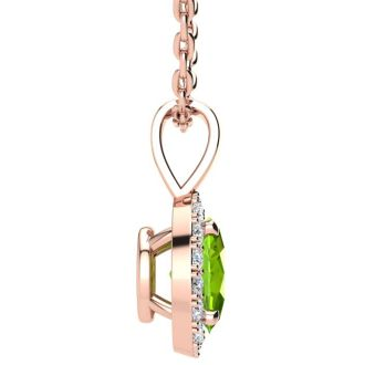 1/2 Carat Oval Shape Peridot and Halo Diamond Necklace In 14 Karat Rose Gold With 18 Inch Chain