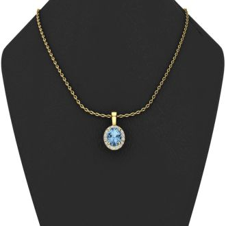 0.62 Carat Oval Shape Blue Topaz and Halo Diamond Necklace In 14 Karat Yellow Gold With 18 Inch Chain