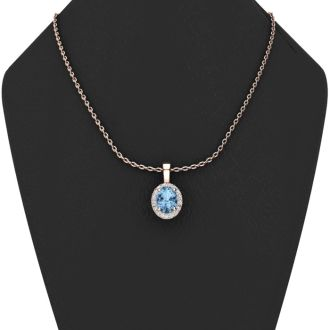 0.62 Carat Oval Shape Blue Topaz and Halo Diamond Necklace In 14 Karat Rose Gold With 18 Inch Chain