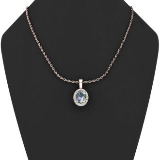 0.62 Carat Oval Shape Mystic Topaz and Halo Diamond Necklace In 14 Karat Rose Gold With 18 Inch Chain