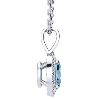 1/2 Carat Oval Shape Aquamarine and Halo Diamond Necklace In 14 Karat White Gold With 18 Inch Chain