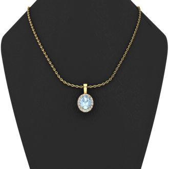 1/2 Carat Oval Shape Aquamarine and Halo Diamond Necklace In 14 Karat Yellow Gold With 18 Inch Chain