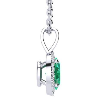1/2 Carat Oval Shape Emerald and Halo Diamond Necklace In 14 Karat White Gold With 18 Inch Chain