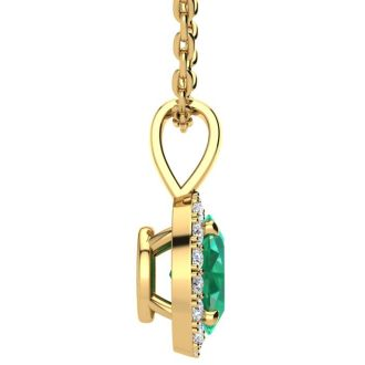 1/2 Carat Oval Shape Emerald and Halo Diamond Necklace In 14 Karat Yellow Gold With 18 Inch Chain