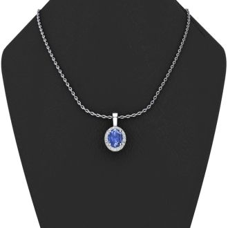 0.62 Carat Oval Shape Tanzanite and Halo Diamond Necklace In 14 Karat White Gold With 18 Inch Chain