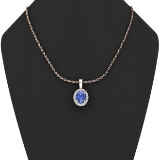 0.62 Carat Oval Shape Tanzanite and Halo Diamond Necklace In 14 Karat Rose Gold With 18 Inch Chain