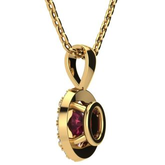 0.62 Carat Oval Shape Garnet and Halo Diamond Necklace In 14 Karat Yellow Gold With 18 Inch Chain