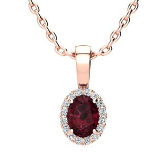 0.62 Carat Oval Shape Garnet and Halo Diamond Necklace In 14 Karat Rose Gold With 18 Inch Chain