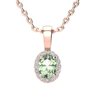 1/2 Carat Oval Shape Green Amethyst and Halo Diamond Necklace In 14 Karat Rose Gold With 18 Inch Chain