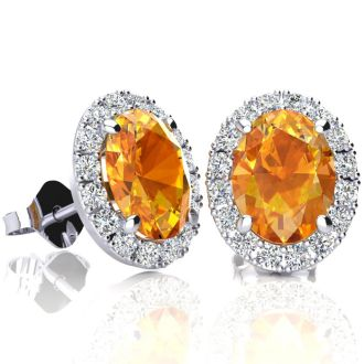 2.40 Carat Oval Shape Citrine and Halo Diamond Stud Earrings In 14 Karat White Gold