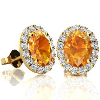 2.40 Carat Oval Shape Citrine and Halo Diamond Stud Earrings In 10 Karat Yellow Gold
