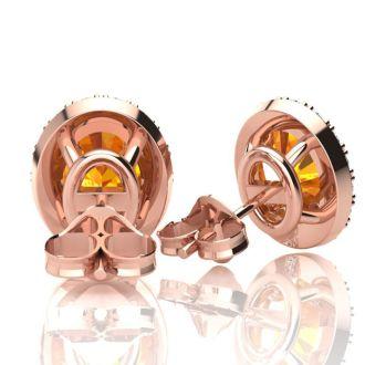2.40 Carat Oval Shape Citrine and Halo Diamond Stud Earrings In 10 Karat Rose Gold