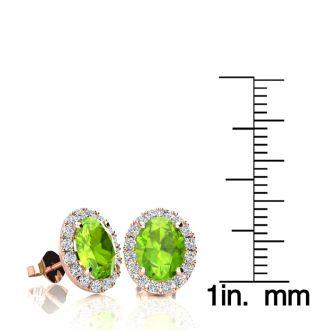 3 Carat Oval Shape Peridot and Halo Diamond Stud Earrings In 10 Karat Rose Gold