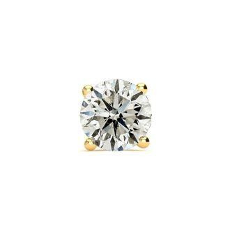 2/3 Carat Single Diamond Stud Earring In 14 Karat Yellow Gold
