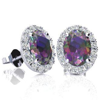 3 1/4 Carat Oval Shape Mystic Topaz and Halo Diamond Stud Earrings In 10 Karat White Gold