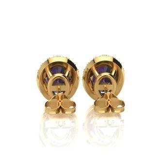 3 1/4 Carat Oval Shape Mystic Topaz and Halo Diamond Stud Earrings In 10 Karat Yellow Gold