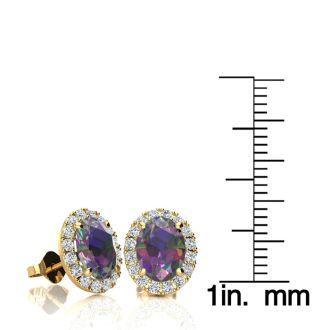 3 1/4 Carat Oval Shape Mystic Topaz and Halo Diamond Stud Earrings In 14 Karat Yellow Gold