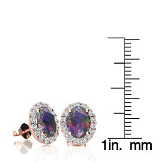 3 1/4 Carat Oval Shape Mystic Topaz and Halo Diamond Stud Earrings In 10 Karat Rose Gold