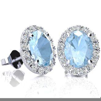 2 1/2 Carat Oval Shape Aquamarine and Halo Diamond Stud Earrings In 10 Karat White Gold