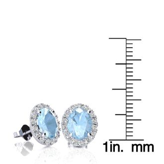 2 1/2 Carat Oval Shape Aquamarine and Halo Diamond Stud Earrings In 14 Karat White Gold