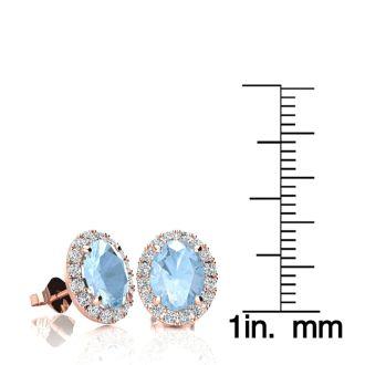 2 1/2 Carat Oval Shape Aquamarine and Halo Diamond Stud Earrings In 10 Karat Rose Gold