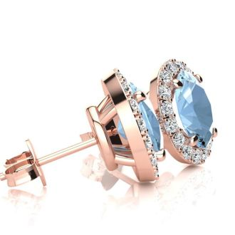 2 1/2 Carat Oval Shape Aquamarine and Halo Diamond Stud Earrings In 14 Karat Rose Gold