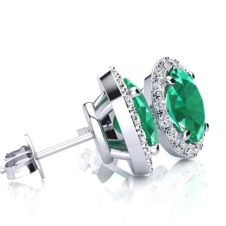 2 1/2 Carat Oval Shape Emerald and Halo Diamond Stud Earrings In 10 Karat White Gold