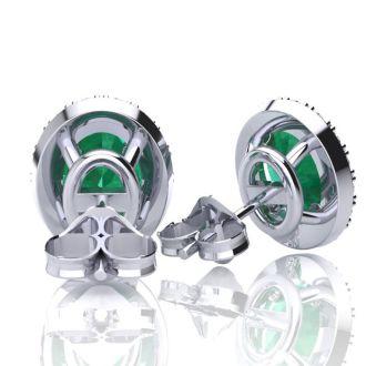 2 1/2 Carat Oval Shape Emerald and Halo Diamond Stud Earrings In 14 Karat White Gold