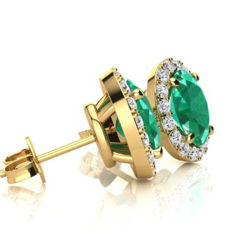 2 1/2 Carat Oval Shape Emerald and Halo Diamond Stud Earrings In 10 Karat Yellow Gold