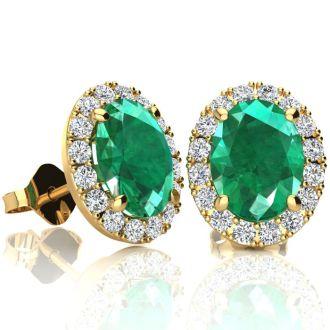 2 1/2 Carat Oval Shape Emerald and Halo Diamond Stud Earrings In 14 Karat Yellow Gold