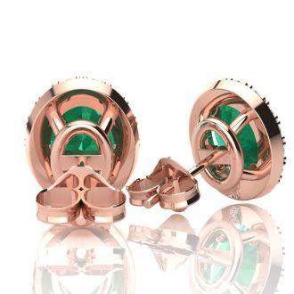 2 1/2 Carat Oval Shape Emerald and Halo Diamond Stud Earrings In 10 Karat Rose Gold