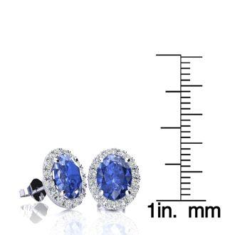 2.90 Carat Oval Shape Tanzanite and Halo Diamond Stud Earrings In 14 Karat White Gold
