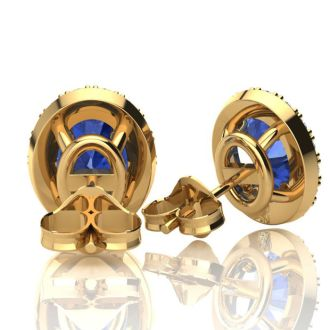 2.90 Carat Oval Shape Tanzanite and Halo Diamond Stud Earrings In 10 Karat Yellow Gold