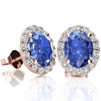 2.90 Carat Oval Shape Tanzanite and Halo Diamond Stud Earrings In 14 Karat Rose Gold