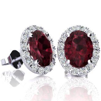 3 1/4 Carat Oval Shape Garnet and Halo Diamond Stud Earrings In 10 Karat White Gold