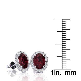 3 1/4 Carat Oval Shape Garnet and Halo Diamond Stud Earrings In 14 Karat White Gold