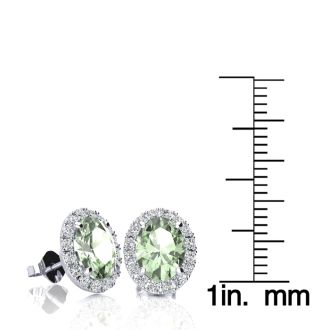 2.40 Carat Oval Shape Green Amethyst and Halo Diamond Stud Earrings In 14 Karat White Gold