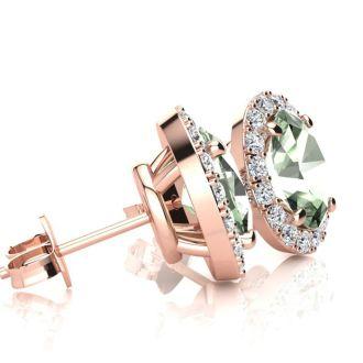 2.40 Carat Oval Shape Green Amethyst and Halo Diamond Stud Earrings In 10 Karat Rose Gold