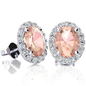 2 1/2 Carat Oval Shape Morganite and Halo Diamond Stud Earrings In 14 Karat White Gold