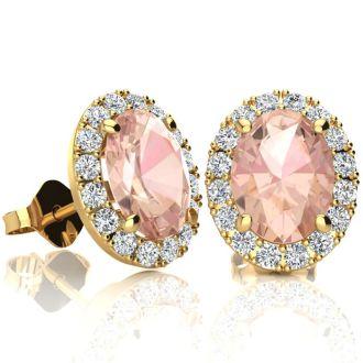 2 1/2 Carat Oval Shape Morganite and Halo Diamond Stud Earrings In 14 Karat Yellow Gold