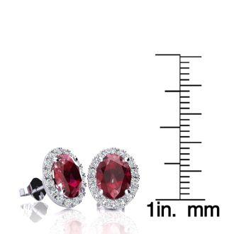 3.40 Carat Oval Shape Ruby and Halo Diamond Stud Earrings In 10 Karat White Gold