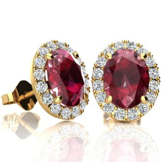 3.40 Carat Oval Shape Ruby and Halo Diamond Stud Earrings In 10 Karat Yellow Gold
