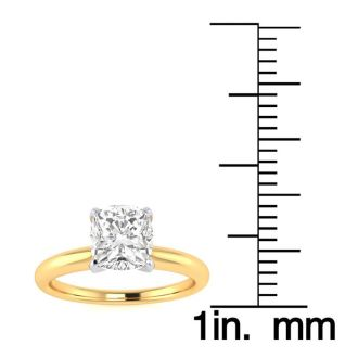 1 Carat Cushion Cut Diamond Solitaire Engagement Ring In 14K Yellow Gold