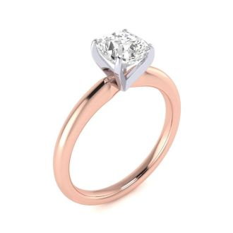1 Carat Cushion Cut Diamond Solitaire Engagement Ring In 14K Rose Gold