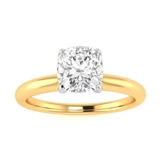 3/4 Carat Cushion Cut Diamond Solitaire Engagement Ring In 14K Yellow Gold