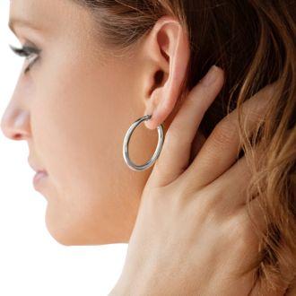 30x3MM Classic Hoop Earrings In Sterling Silver