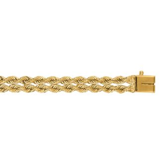 14 Karat Yellow Gold 6.0mm 7 Inch Double Line Rope Chain