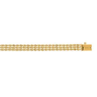 14 Karat Yellow Gold 4.50mm 7 Inch Multi Line Rope Chain