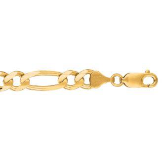 14 Karat Yellow Gold 7.0mm 8.50 Inch Diamond Cut Classic Figaro Chain
