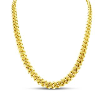 14 Karat Yellow Gold 7.80mm 24 Inch Light Miami Cuban Chain